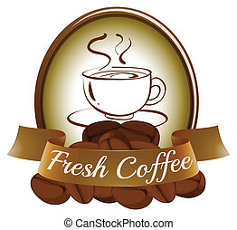 A fresh coffee label with a cup of hot coffee