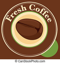 A fresh coffee label with coffee bean