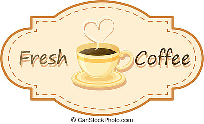 A fresh coffee logo with a cup of brewed coffee
