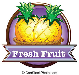 A fresh fruit label with pineapples