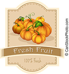 A fresh fruit label with pumpkins