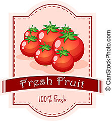 A fresh fruit label with ripe tomatoes