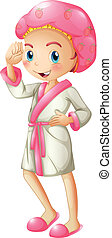 A fresh girl wearing a bathrobe - Illustration of a fresh...