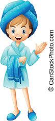 A fresh girl with her bathrobe - Illustration of a fresh...