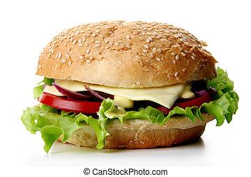 a fresh hamburger with salad and onion