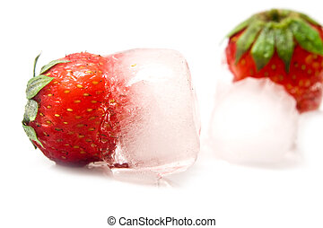 strawberry is in ice
