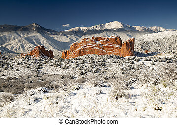 Pike's Peak and The Garden of the Gods - A fresh winter snow...