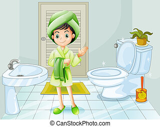 A fresh young girl at the bathroom - Illustration of a fresh...