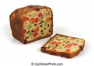 Christmas fruitcake - A freshly baked isolated loaf of ...