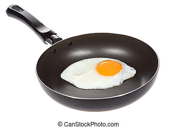 A fried egg in a frying pan on white background