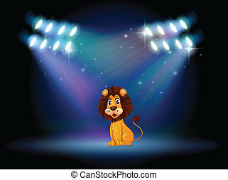 Illustration of a friendly lion at the center of the stage