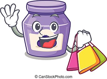 A friendly rich blueberry jam waving and holding Shopping bag