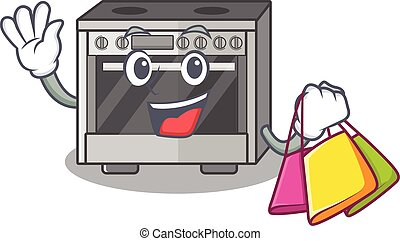 A friendly rich kitchen stove waving and holding Shopping bag