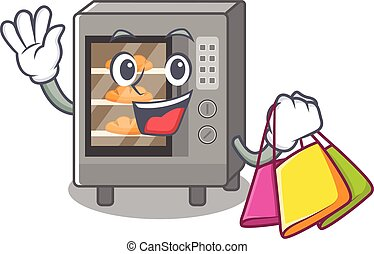 A friendly rich oven cake waving and holding Shopping bag