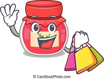 A friendly rich strawberry jam waving and holding Shopping bag