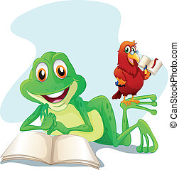 A frog and a bird reading