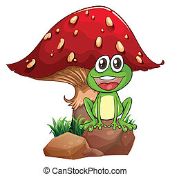 A frog and a mushroom - Illustration of a frog and a ...