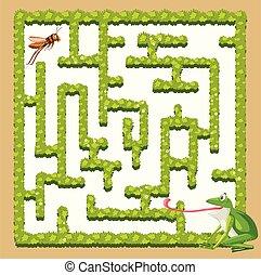 A frog finding grasshopper illustration
