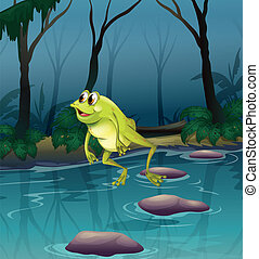 A frog jumping at the pond inside the forest