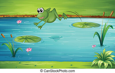 A frog jumping - Illustration of a fron jumping from one...