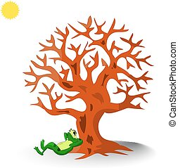 A frog lies under a tree without leaves, a cartoon on a white background.