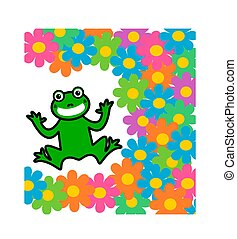 a frog on a glass with many flowers