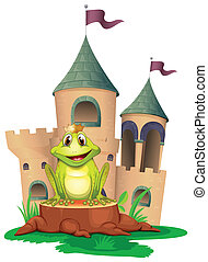 A frog sitting at the wood with a castle at the back