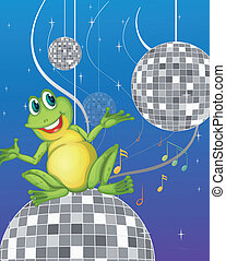 A frog sitting on a disco light