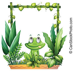 A frog thinking - Illustration of a frog thinking on a white...