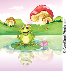 A frog watching his reflection from the water - Illustration...