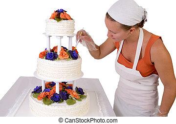 a froissé, augmente, toucher, gâteau mariage, final
