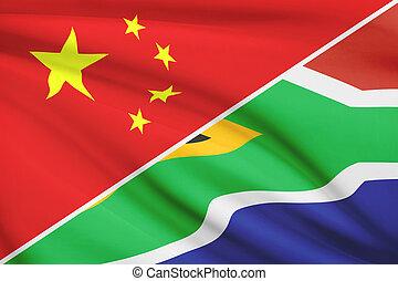 a froissé, série, république, afrique., porcelaine, flags., sud
