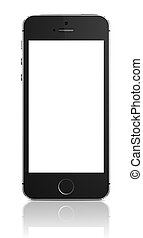 A front view of an Apple iPhone 5s displaying a blank white screen.