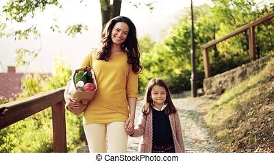 A front view of mother walking with a small daughter in park...
