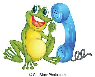 a, frosch, mit, telefon- empfänger