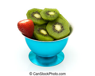 A fruit dish of kiwi and strawberries, Healthy Dessert