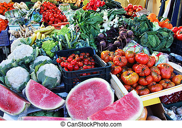 fruit stand - a fruit stand