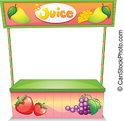 Illustration of a fruit vendor stall on a white background