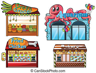 A fruitstand, an aquarium, a food stall and a bakery -...