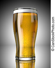 A Full Beer Pint with Froth and Bubbles On a Grey Background