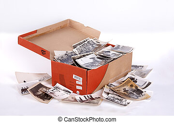 old photos - A full box of old photos, clipping path, focus ...