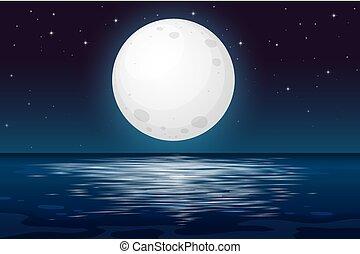 A Full Moon Night at the Ocean