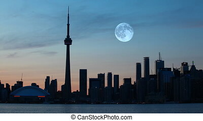 Full Moon over Toronto, Canada - A Full Moon over Toronto,...