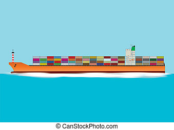Container Ship - A Fully Laden Container Ship travelling at...