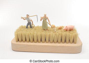 a fun of mini figure of farmer work