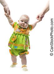 trying tu walk - a funny baby is trying tu walk