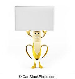 A funny banana - 3d rendered illustration of a funny banana