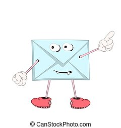 A funny blue cartoon letter with eyes, arms and legs in shoes shows a finger at an imaginary object.