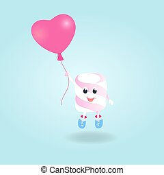 A funny boy Marshmallow with balloon cartoon character