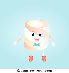 A funny boy Marshmallow with bow cartoon character